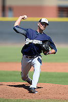 Milwaukee Brewers pitcher Josh Uhen (31) during an Instructional League game against the Seattle Mariners on October 4, 2014 at Peoria Stadium Training Complex in Peoria, Arizona.  (Mike Janes/Four Seam Images)