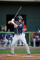 New Hampshire Fisher Cats shortstop Kevin Nolan (23) at bat during a game against the Harrisburg Senators on July 21, 2015 at Metro Bank Park in Harrisburg, Pennsylvania.  New Hampshire defeated Harrisburg 7-1.  (Mike Janes/Four Seam Images)