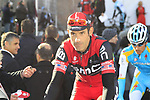 George Hincapie (USA) BMC Racing Team, who will set a new record of 17 completed Tours of Flanders if he finishes this year, at sign on before the start of the 96th edition of The Tour of Flanders 2012 in Bruges Market Square, running 256.9km from Bruges to Oudenaarde, Belgium. 1st April 2012. <br /> (Photo by Eoin Clarke/NEWSFILE).