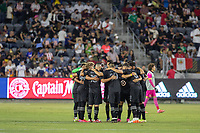 LOS ANGELES, CA - AUGUST 25: MLS All Stars team huddle during a game between Liga MX All Stars and MLS All Stars at Banc of California Stadium on August 25, 2021 in Los Angeles, California.