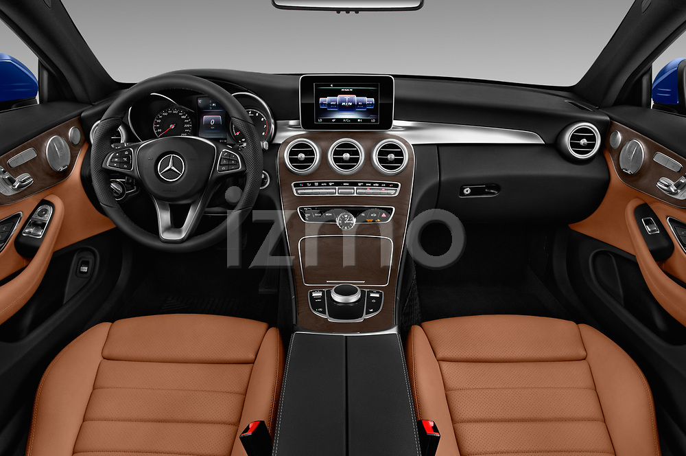 Stock photo of straight dashboard view of 2018 Mercedes Benz C-Class C300 2 Door Coupe Dashboard