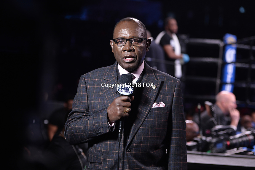 """BROOKLYN, NY - DECEMBER 22:  Sport commentators Larry Hazard attends the Fox Sports and Premier Boxing Champions  December 22 """"PBC on Fox"""" Fight Night at the Barclays Center on December 22, 2018 in Brooklyn, New York. (Photo by Anthony Behar/Fox Sports/PictureGroup)"""