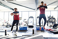 (L-R) Angel Rangel and Federico Fernandez exercise in the gym during the Swansea City Training at The Fairwood Training Ground, Swansea, Wales, UK. Friday 15 December 2017