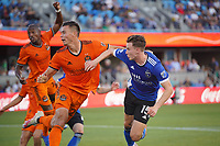 SAN JOSE, CA - JULY 24: Tanner Beason #15 of the San Jose Earthquakes watches a goal during a game between Houston Dynamo and San Jose Earthquakes at PayPal Park on July 24, 2021 in San Jose, California.