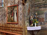 Gotisches Altarbild stigmatisierter Franziskus, katholische Holzkirche St. Franziskus, 1593 bis 1596, Hervartov bei Bardejov, Presovsky kraj, Slowakei, Europa, UNESCO-Weltkulturerbe<br /> Gothic altarpiece stigmatized Francis in Catholic wooden Church St. Francis 1593-1596 in Hervartov near Bardejov, Presovsky kraj, Slovakia, Europe, UNESCO world heritage