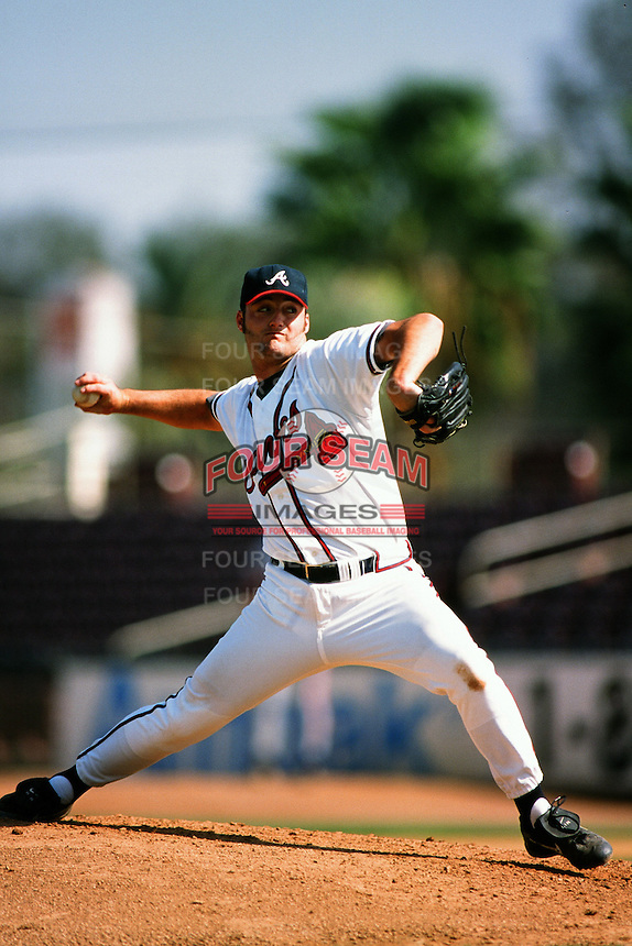 Jacob Shumate of the Atlanta Braves organization plays in a California Fall League game at The Epicenter circa October 1999 in Rancho Cucamonga, California. (Larry Goren/Four Seam Images)