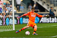 Philadelphia Union goalkeeper Zac MacMath (18). The New York Red Bulls defeated the Philadelphia Union 3-0 during a Major League Soccer (MLS) match at PPL Park in Chester, PA, on October 27, 2012.