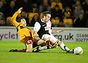 26/10/2010   Copyright  Pic : James Stewart.sct_jsp003_motherwell_v_dunde_utd  .::  ALAN GOW IS CHALLENGED BY KEITH WATSON ::.James Stewart Photography 19 Carronlea Drive, Falkirk. FK2 8DN      Vat Reg No. 607 6932 25.Telephone      : +44 (0)1324 570291 .Mobile              : +44 (0)7721 416997.E-mail  :  jim@jspa.co.uk.If you require further information then contact Jim Stewart on any of the numbers above.........