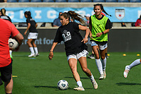 BRIDGEVIEW, IL - JULY 18: Sofia Huerta #11 of the OL Reign warms up before a game between OL Reign and Chicago Red Stars at SeatGeek Stadium on July 18, 2021 in Bridgeview, Illinois.