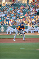 Seth Brown (9) of the Las Vegas Aviators on defense against the Salt Lake Bees at Smith's Ballpark on July 20, 2019 in Salt Lake City, Utah. The Aviators defeated the Bees 8-5. (Stephen Smith/Four Seam Images)