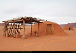 Navajo Dine Female Hogans and Summer Shelter, Monument Valley Navajo Tribal Park, Navajo Nation Reservation, Utah/Arizona Border