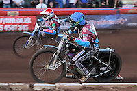 Heat 4: Robert Mear (blue) and Piotr Swiderski - Vortex Lakeside Hammers vs Kings Lynn Stars - Sky Sports Elite League Speedway at Arena Essex Raceway, Purfleet - 23/04/13 - MANDATORY CREDIT: Gavin Ellis/TGSPHOTO - Self billing applies where appropriate - 0845 094 6026 - contact@tgsphoto.co.uk - NO UNPAID USE.