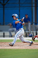 Toronto Blue Jays third baseman Davis Schneider (17) hits a double during an Instructional League game against the Philadelphia Phillies on October 7, 2017 at the Englebert Complex in Dunedin, Florida.  (Mike Janes/Four Seam Images)