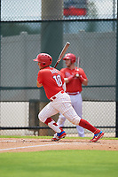 GCL Phillies West Andrick Nava (10) bats during a Gulf Coast League game against the GCL Tigers West on July 27, 2019 at the Carpenter Complex in Clearwater, Florida.  (Mike Janes/Four Seam Images)