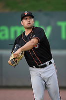 Center fielder Nick Horvath (20) of the Delmarva Shorebirds warms up before a game against the Greenville Drive on Friday, August 2, 2019, at Fluor Field at the West End in Greenville, South Carolina. The game was suspended in the second inning and will not be made up. (Tom Priddy/Four Seam Images)