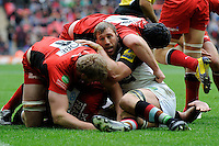Chris Robshaw of Harlequins in action during the Aviva Premiership match between Saracens and Harlequins at Wembley Stadium on Saturday 31st March 2012 (Photo by Rob Munro)