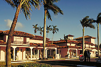 Royal Palm (shopping) Plaza in Boca Raton, Florida. It was planned by pioneer architect Addison Mizner in the '20s but only recently built. Resorts, ornamental architecture, fountains, cityscape, urban design, Moorish influence. Boca Raton Florida, Royal