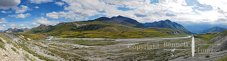 A rainstorm approaches at far right in this view from a bluff along the Marsh Fork of the Canning River, in Alaska's Arctic National Wildlife Refuge.