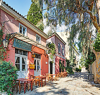 A picturesque restaurant of Plaka in Athens, Greece