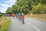 The peloton during Stage 2 of the Route d'Occitanie 2020, running 174.5km from Carcassone to Cap Découverte, France. 2nd August 2020. <br /> Picture: Colin Flockton | Cyclefile<br /> <br /> All photos usage must carry mandatory copyright credit (© Cyclefile | Colin Flockton)
