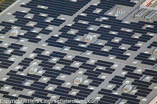 aerial photography solar panels rooftop Costco warehouse Richmond, Contra Costa county California