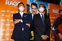 The minister of foreign affairs Luigi Di Maio and the former premier Giuseppe Conte in a suburb in the east of Rome during the election campaign for the mayor of Rome. <br /> Rome (Italy), September 14th 2021<br /> Photo Samantha Zucchi Insidefoto