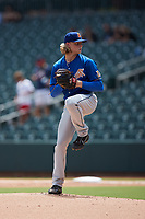 Durham Bulls starting pitcher Shane Baz (17) in action against the Charlotte Knights at Truist Field on August 28, 2021 in Charlotte, North Carolina. (Brian Westerholt/Four Seam Images)