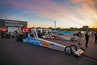 Sep 4, 2020; Clermont, Indiana, United States; The dragsters of NHRA top fuel drivers Tony Schumacher (near) and Cory McClenathan in the staging lanes during qualifying for the US Nationals at Lucas Oil Raceway. Mandatory Credit: Mark J. Rebilas-USA TODAY Sports