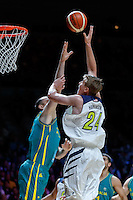 July 14, 2016: JOSH HAWKINSON (24) of the Washington State Cougars takes a shot during game 2 of the Australian Boomers Farewell Series between the Australian Boomers and the American PAC-12 All-Stars at Hisense Arena in Melbourne, Australia. Sydney Low/AsteriskImages.com