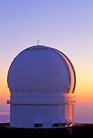 Canadian - France - Hawaii observatory at sunset on Mauna Kea, Big Island of Hawaii