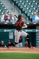 Indianapolis Indians Cole Tucker (27) hits a home run during an International League game against the Buffalo Bisons on June 20, 2019 at Sahlen Field in Buffalo, New York.  Buffalo defeated Indianapolis 11-8  (Mike Janes/Four Seam Images)