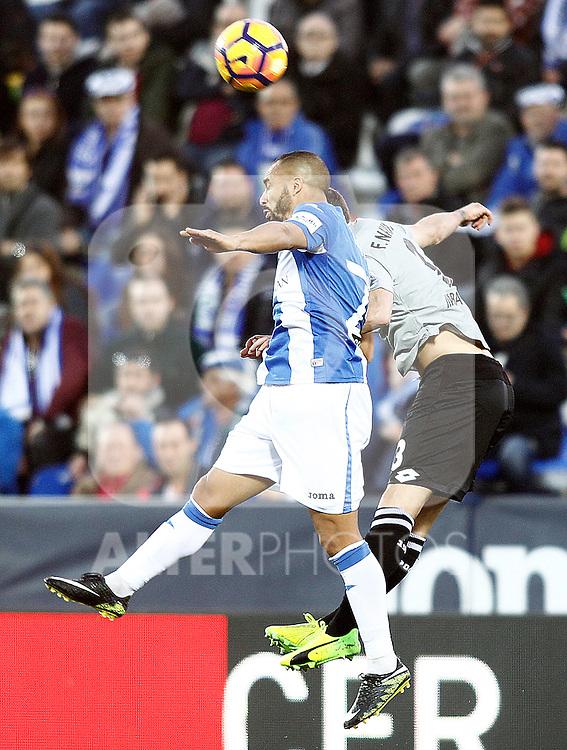 CD Leganes' Nabil El Zhar (l) and Deportivo de la Coruna's Fernando Navarro during La Liga match. February 25,2017. (ALTERPHOTOS/Acero)