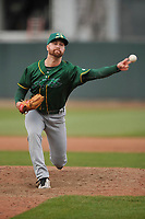 Beloit Snappes pitcher Andrew Tomasovich (21) in action during a game against the Cedar Rapids Kernels at Veterans Memorial Stadium on April 8, 2017 in Cedar Rapids, Iowa.  The Snappers won 7-6.  (Dennis Hubbard/Four Seam Images)