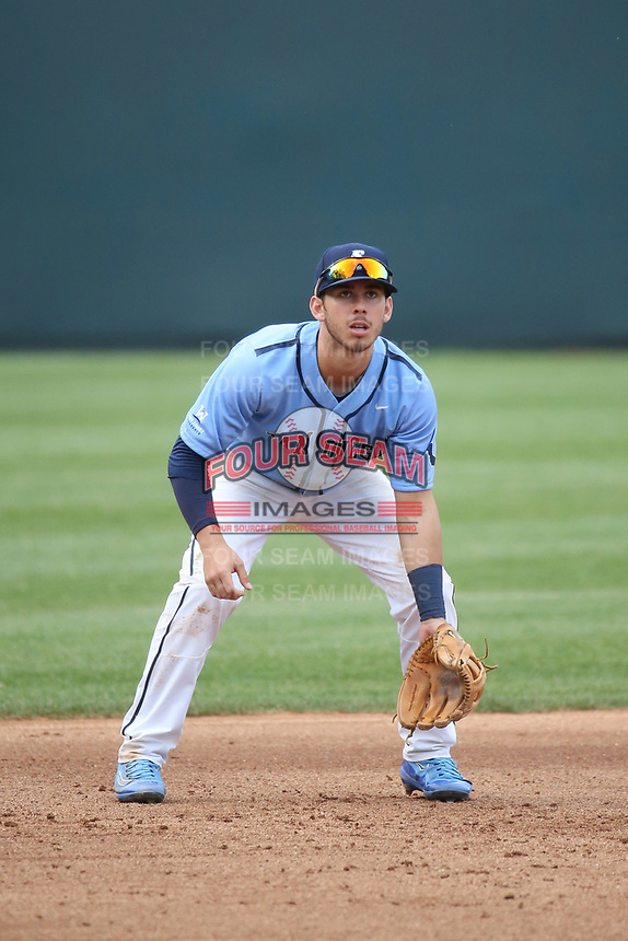 Brhet Bewley (9) of the University of San Diego Toreros in the field at third base during a game against the UCLA Bruins at Jackie Robinson Stadium on March 4, 2017 in Los Angeles, California.  USD defeated UCLA, 3-1. (Larry Goren/Four Seam Images)