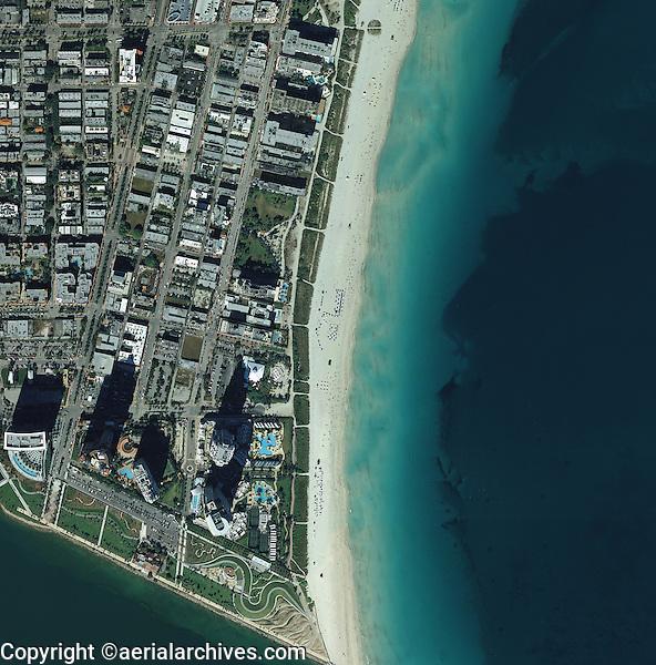 aerial map view above Miami beach Florida