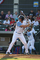 Myrtle Beach Pelicans outfielder Jared Hoying #32 at bat during a game against the Wilmington Blue Rocks at Tickerreturn.com Field at Pelicans Ballpark on April 8, 2012 in Myrtle Beach, South Carolina. Wilmington defeated Myrtle Beach by the score of 3-2. (Robert Gurganus/Four Seam Images)