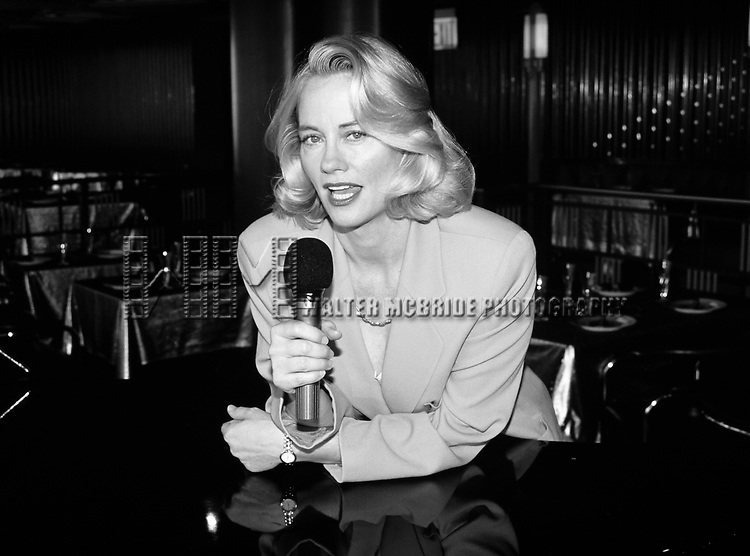 """Cybill Shepherd pictured rehersing for her singing engagement at """"Rainbow and Stars"""" in New York City on July 13, 1994."""