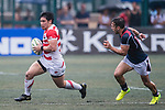 Ryoto Nakamura of Japan (L) in action during the Asia Rugby Championship 2017 match between Hong Kong and Japan on May 13, 2017 in Hong Kong, China. Photo by Marcio Rodrigo Machado / Power Sport Images