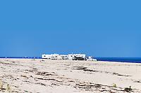 RV mobile homes set up camp on Race Point beach, Cape Cod National Seashore, Massachusetts, , USA