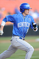 Second Baseman J.T. Riddle #10 runs to first during a  game against the Tennessee Volunteers at Lindsey Nelson Stadium on March 24, 2012 in Knoxville, Tennessee. The game was suspended in the bottom of the 5th with the Wildcats leading 5-0. Tony Farlow/Four Seam Images.