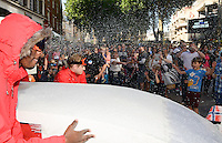Pictured: Saturday 17 September 2016<br /> Re: Roald Dahl's City of the Unexpected has transformed Cardiff City Centre into a landmark celebration of Wales' foremost storyteller, Roald Dahl, in the year which celebrates his centenary. <br /> The Polar Explorer flash mob near to The Hayes, Cardiff City, Centre.