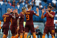 Calcio, Serie A: Roma vs Udinese. Roma, stadio Olimpico, 20 agosto 2016.<br /> Roma's Edin Dzeko, second from right, celebrates with teammates after scoring during the Italian Serie A football match between Roma and Udinese at Rome's Olympic stadium, 20 August 2016. Roma won 4-0.<br /> UPDATE IMAGES PRESS/Riccardo De Luca