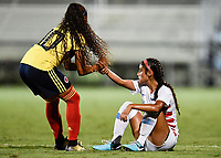Lakewood Ranch, FL - Wednesday, October 10, 2018:   Maireth Perez R., Samantha Meza during a U-17 USWNT match against Colombia.  The U-17 USWNT defeated Colombia 4-1.