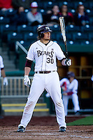 Luke Voit (30) of the Missouri State Bears at bat during a game against the Southern Illinois University- Edwardsville Cougars at Hammons Field on March 9, 2012 in Springfield, Missouri. (David Welker / Four Seam Images)