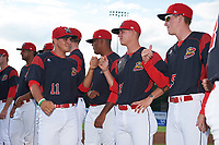 Batavia Muckdogs Mike Garzillo (11) greets teammates Shane Sawczak (21) and Hunter Wells (35) during introductions before a game against the Auburn Doubledays on June 19, 2017 at Dwyer Stadium in Batavia, New York.  Batavia defeated Auburn 8-2 in both teams opening game of the season.  (Mike Janes/Four Seam Images)