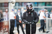 22nd May 2021; Principality of Monaco; F1 Grand Prix of Monaco, qualifying sessions;  HAMILTON Lewis (gbr), Mercedes AMG F1 GP W12 E Performance arrives on his electric scooter