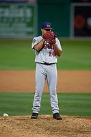 Auburn Doubledays pitcher Karlo Seijas (26) during a NY-Penn League game against the Batavia Muckdogs on August 31, 2019 at Dwyer Stadium in Batavia, New York.  Auburn defeated Batavia 12-5.  (Mike Janes/Four Seam Images)