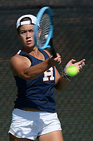 Heritage's Stella de Vera returns a shot Tuesday, Oct. 12, 2021, during the 6A state tennis finals at Memorial Park in Bentonville. Visit nwaonline.com/211013Daily/ for today's photo gallery.<br /> (NWA Democrat-Gazette/Andy Shupe)