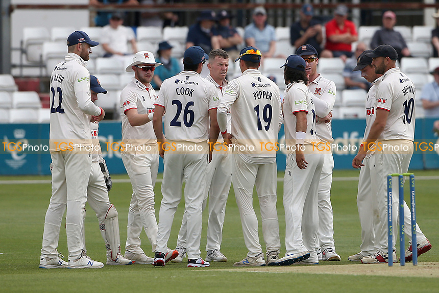 Peter Siddle of Essex celebrates with his team mates after taking the wicket of Ben Compton during Essex CCC vs Nottinghamshire CCC, LV Insurance County Championship Group 1 Cricket at The Cloudfm County Ground on 3rd June 2021