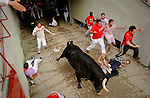 Participants run in front of Dolores Aguirre Ybarra's bulls during the first bull run of the San Fermin Festival, on July 7, 2012, in Pamplona, northern Spain. The festival is a symbol of Spanish culture that attracts thousands of tourists to watch the bull runs despite heavy condemnation from animal rights groups. (c) Pedro ARMESTRE